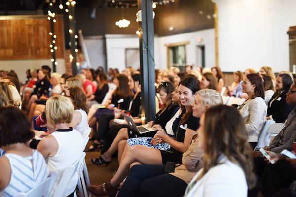 Female marketing professionals attend a Women In Digital event in Columbus.