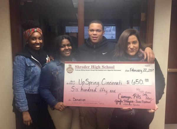 Students from Shroder Paideia High School donated $650 to UpSpring.