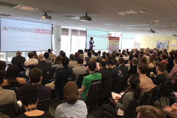 Attendees gather at a recent MeasureCamp un-conference.