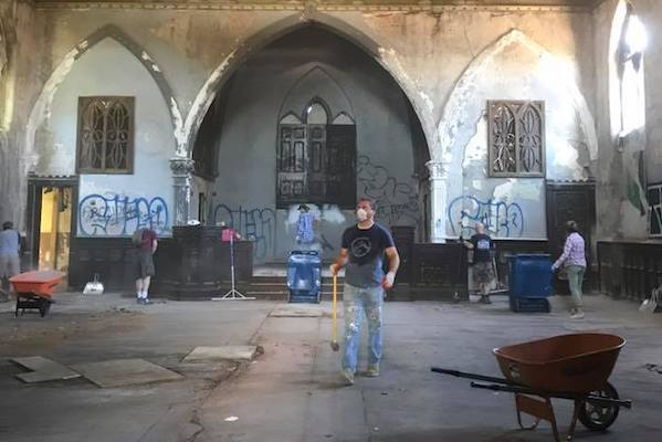 OTR A.D.O.P.T. spent a day cleaning out all of the debris from the vacant church.