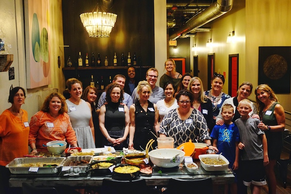 The group of cooks that gathered for last month's cookbook club potluck.