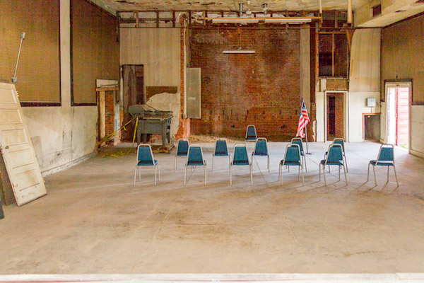 The Main's interior has been gutted, and will be renovated as a center for arts and culture in the neighborhood.