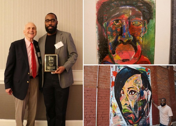 Left: Michael Coppage receiving his award; right above: His art; right below: His mural in OTR