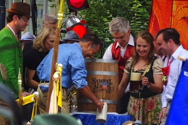 City leaders gather for a keg tapping at the 2015 Oktoberfest.