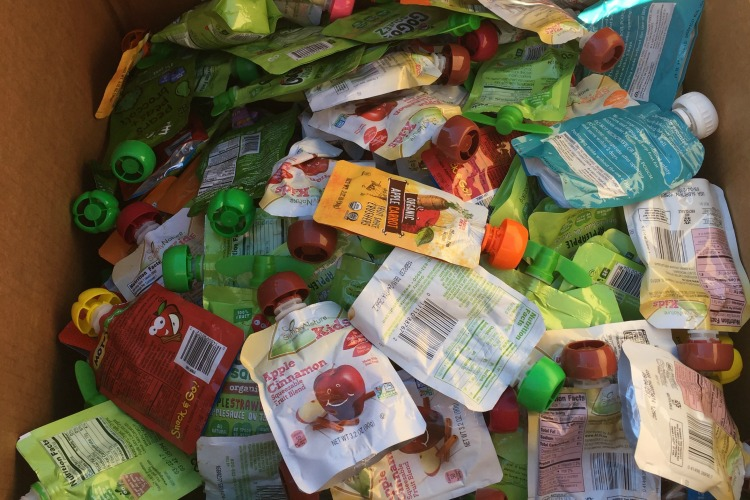 Many people don't realize that snack pouches are not recyclable.