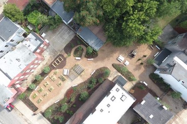 An aerial view of the Sassafras Garden in Lower Price Hill.