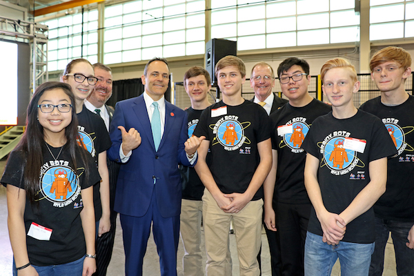 Ed Massey and Gov. Bevin with the Brainy Bots.