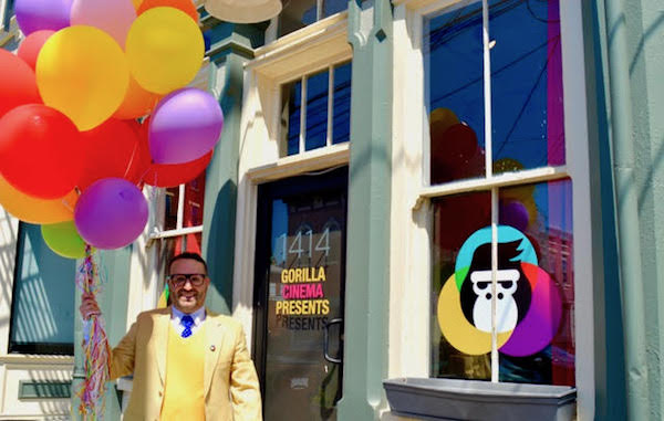 Owner Jacob Trevino in front of Gorilla Cinema's storefront at 1414 Walnut St.