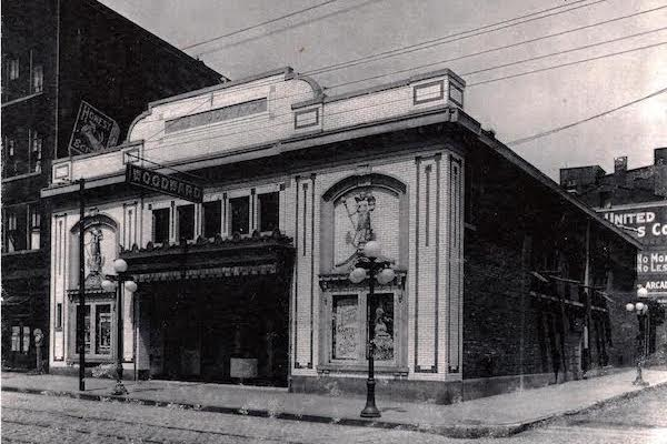 Historic photo of the Woodward Theater's marquee.