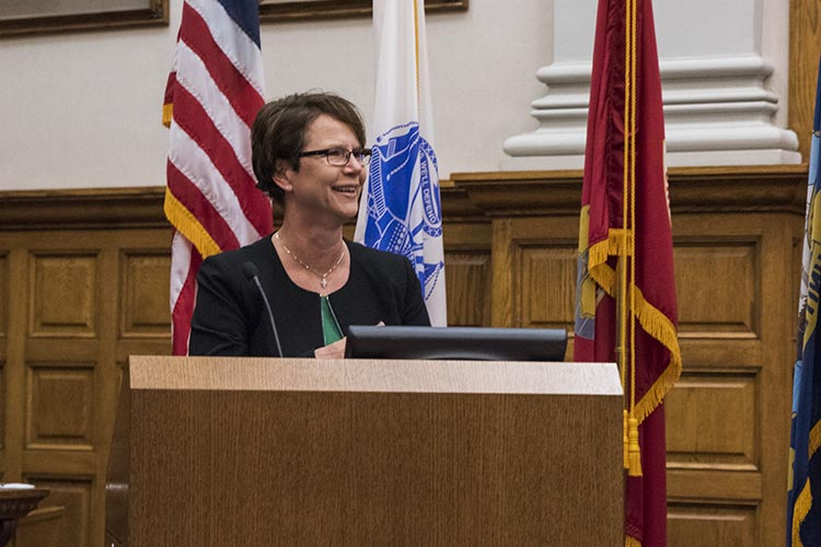 Ohio Supreme Court Justice Sharon L. Kennedy speaking at the graduation ceremony who spoke in recognition of the upcoming Veterans Day.