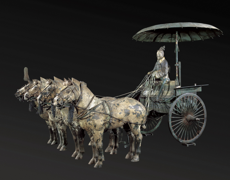 Chariot No. 1 with Horses (replica), Qin dynasty (221–206 BC), bronze, pigment, Excavated from Pit of Bronze Chariots, Qin Shihuang's Mausoleum, 1980, Emperor Qin Shihuang's Mausoleum Site Museum