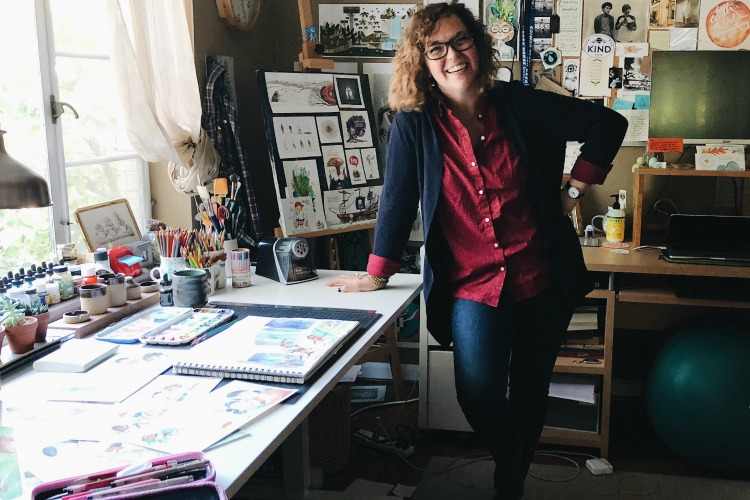 Illustrator Erin Baker in her home studio.