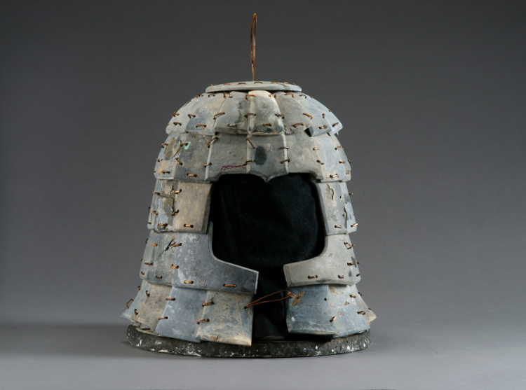 Helmet, Qin dynasty (221–206 BC), limestone, Excavated from Pit K9801, Qin Shihuang's Mausoleum, 1999, Shaanxi Provincial Institute of Archaeology