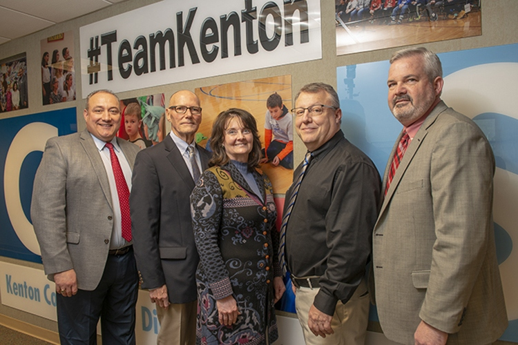 Kenton County Schools leaders, from left, Superintendent Dr. Henry Webb, Team Kenton Foundation Chair Bill Culbertson, Dr. Kim Banta, Dr. Francis O'Hara and Rob Haney.