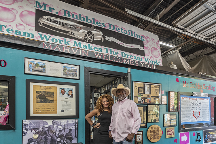Marvin Butts and Tabatha Anderson outside of their office at Mr. Bubbles Auto Detailing.