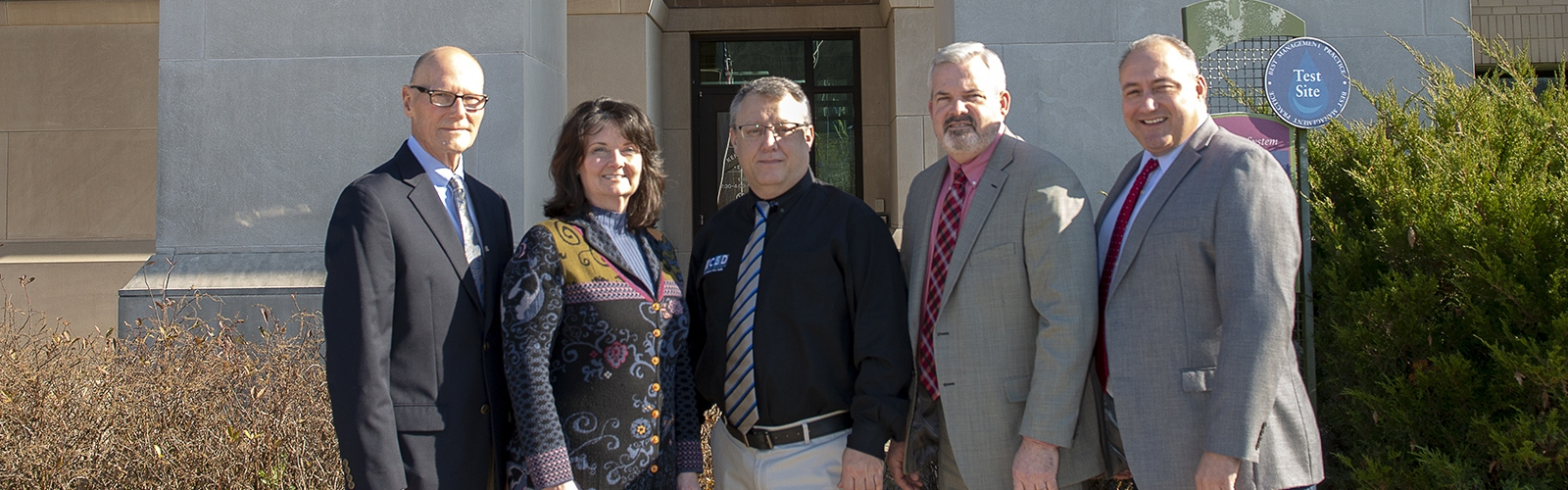 From left, Kenton County Schools' Bill Culbertson, Dr. Kim Banta, Dr. Francis O'Hara, Rob Haney and Dr. Henry Webb. <span class='image-credits'>Joe Simon</span>