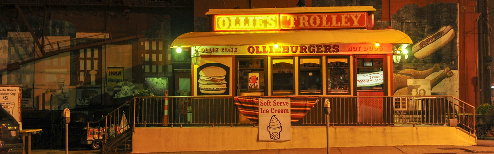 Nighttime at Ollie's Trolley at the corner of Liberty Street and Central Avenue