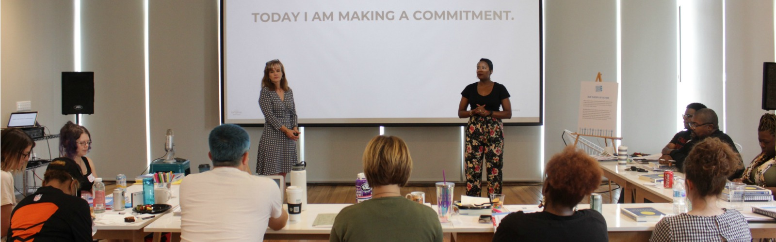 Consultants Marion Hodges Biglan and Jovian Zayne start by helping participants articulate their reasons for attending and potential positive outcomes. <span class=&apos;image-credits&apos;>Provided</span>