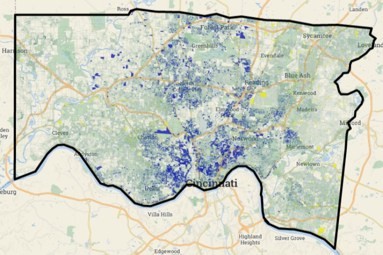 Shown in blue are the surveyed parcels in Hamilton County. The parcels were presumed vacant.