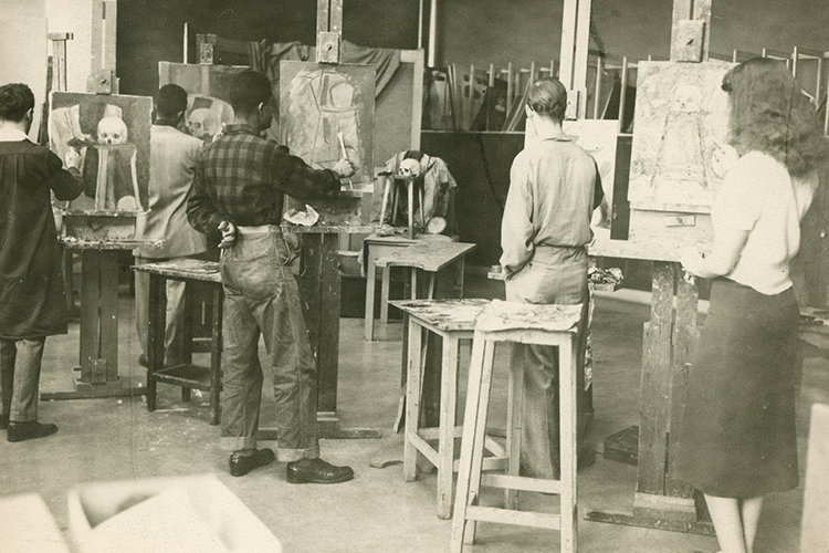Painting class in 1938