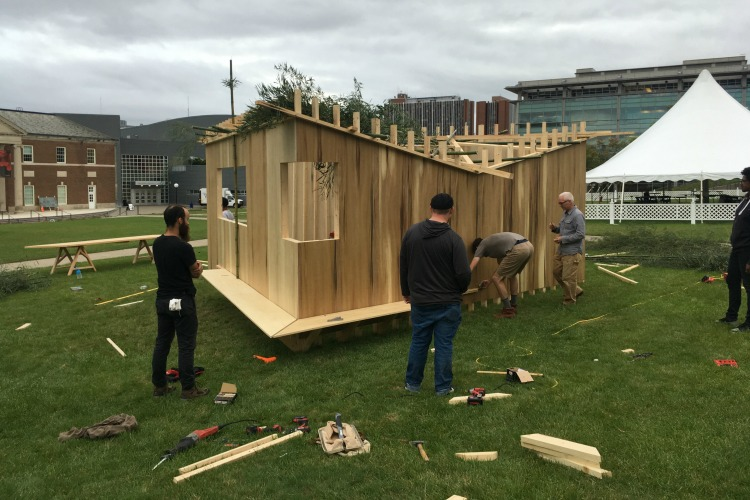 Six students with no previous architectural experience designed and built this sukkah in three weeks for the Hillel Foundation, who funded the project.