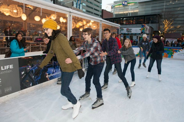 Ice skating on Fountain Square is a popular winter activity.