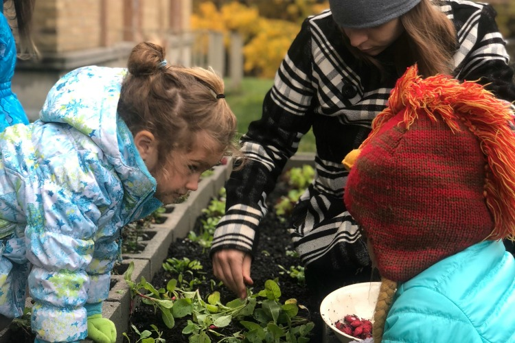 Community gardening is part of the curriculum.