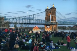 Moon rising over Cincinnati Homecoming Festival
