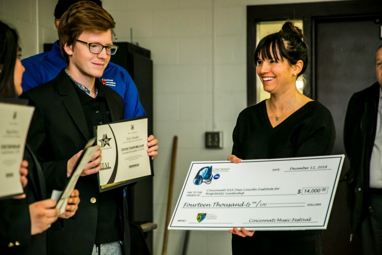 The Cincinnati Music Festival presented a check to those going on to internships.