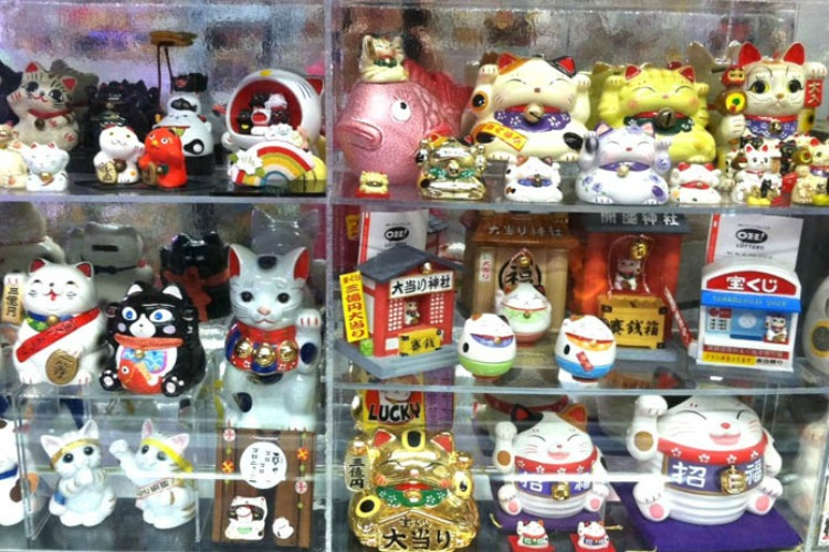 The one-of-a-kind Lucky Cat Museum on the first floor.