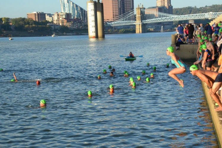 Swimmers at the start of the Bill Keating, Jr. Great Ohio River Swim.