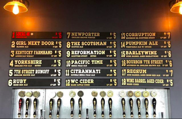 The current tap list at Wooden Cask in Newport.