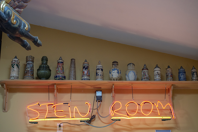 The Stein Room houses a family collection of vintage steins from around the world.