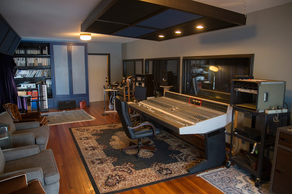 Inside the recording studio booth at The Lodge.