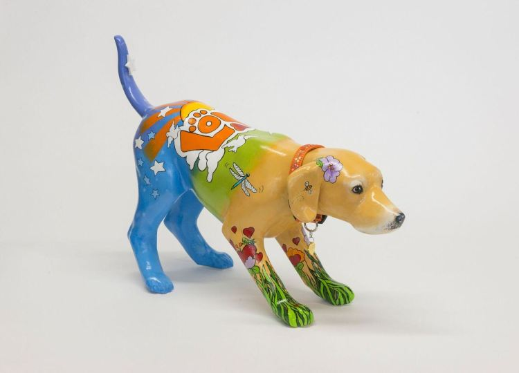 "Mara McCalmont's sculpture, ""Peter Max"" Painted Pet, will be part of the Petcasso fundraiser."