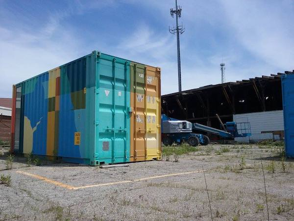 The Makers Mobile art gallery sits outside of PAR Projects' new home. It will eventually become part of a new building made entirely from shipping containers.