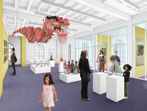 Rendering of the exhibit hall in Madcap Puppets' new building