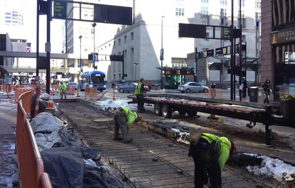 Streetcar tracks at Fifth & Walnut