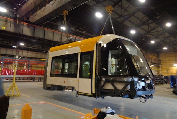 Cincinnati streetcars are being built now and will arrive later this year