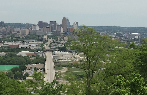 View of downtown and Northern Kentucky from the Incline Theater in Price Hill