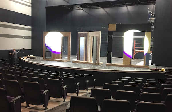 The set takes shape for the Incline Theater's first show, The Producers, opening June 3