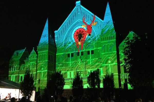 Snell designed part of last year's Lumenocity show using a Charlie Harper theme
