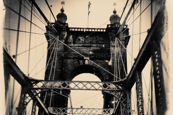 A tile/coaster featuring the Roebling Suspension Bridge