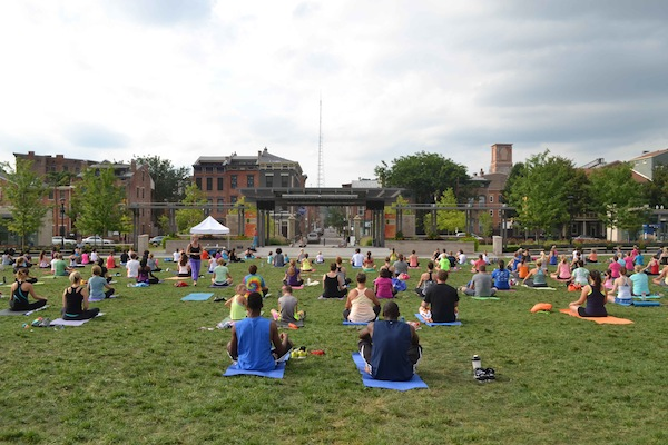 Rachel Roberts has led free yoga classes in Washington Park since 2013