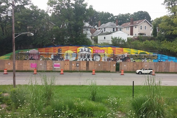 The Evanston mural work is progressing in this photo from late July