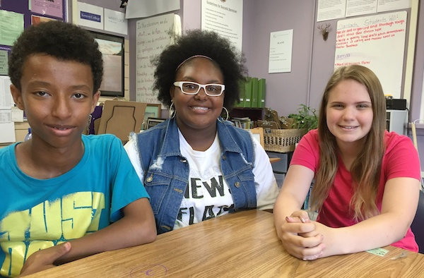 Gamble ninth graders (L-R) Kaleab, BreAnna and Hannah were in Taylor's United Leaders community last year