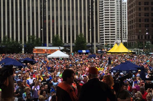 Oktoberfest: Getting ready to do the chicken dance on Fountain Square