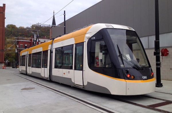 Cincinnati's first new streetcar outside the maintenance facility north of Findlay Market