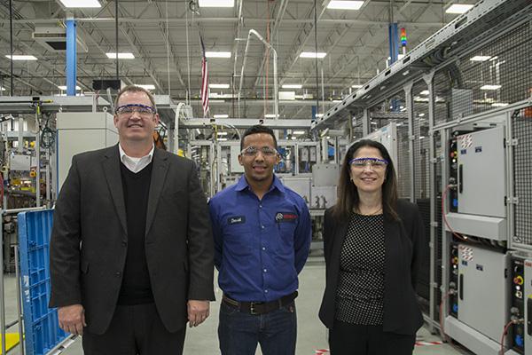 (L-R) Wade Williams from Northern Kentucky Tri-ED, trainee David Navarrete and Mary Grace Cassar from Bosch