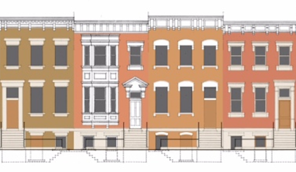 Rendering of new townhomes on West 15th Street near Elm